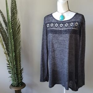 Cato gray burnout long sleeve top w/embroidery